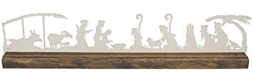 Modern Mantel Silhouette Nativity by Valerie Atkisson, Polished Nickel by Valerie Atkisson