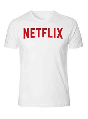 Netflix Movie T Shirt Funny Humor Movie Night Netflix and Chill T-Shirt White (S)