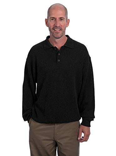 Polo Pullover Sweater - 100% Baby Alpaca Wool (XXLarge, Black) ()