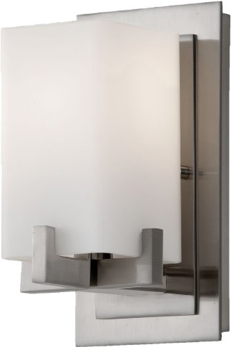 (Feiss VS18401-BS Riva Glass Wall Vanity Bath Sconce Lighting, Satin Nickel, 1-Light (5