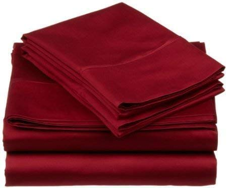 "Mat's Linen Egyptian Cotton 4-Piece Sheet Set Queen Size (60x80) Fits Upto 14-15"" Deep Pocket 600 Thread Count Burgundy Solid # Exotic Bedding Collection - FABRIC QUALITY - Our 600 thread count sheets are made with Egyptian Cotton. Package Includes :- 1 Fitted Sheet, 1 Flat Sheet and 2 Pillow Cases. Queen Measurement: Fitted Sheet ( 60 X 80 ) Inch, Flat sheet ( 90 X 102 ) Inch, Pillowcase ( 20 X 30 ) Inches. DEEP POCKET DESIGN :- Fits Mattresses Up to 14-15"" Inches Deep Pocket With Elastic All Around the Fitted Sheet !! - sheet-sets, bedroom-sheets-comforters, bedroom - 31aoPXc91iL -"