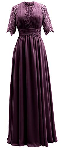 Women Formal Lace Short Dress Plum Bride Evening Gown Mother MACloth The of Sleeves dHxqB