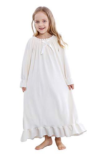 (Girls Princess Nightgown, Winter Soft Fleece Long Sleeve Sleepwear for Kids 3-12 Years (Cream, 5-6Years/Size)