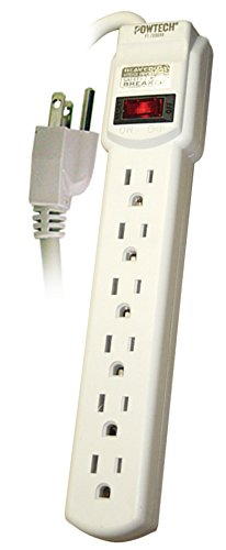 Price comparison product image POWTECH UL Listed 6 Outlet Surge Protector Heavy Duty Home / Office Power Strip,  14 AWG Cord,  125V,  15AMPS,  1875 Watt,  6-Ft Power Cord