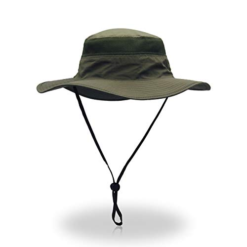 - EONPOW Windproof Fishing Hats UPF50+ UV Protection Sun Cap Outdoor Bucket Mesh Hat 56-61cm Olive Drab