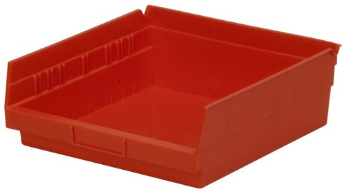 12 Hopper Bins - Akro-Mils 30170 12-Inch by 11-Inch by 4-Inch Plastic Nesting Shelf Bin Box, Red, Case of 12
