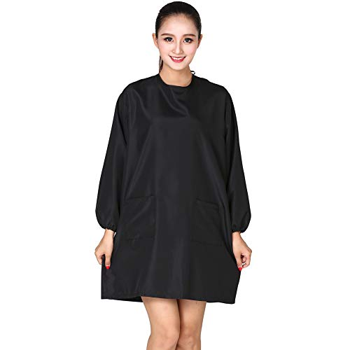 KAHOT Professional Salon Hair Stylist Cosmetology Uniform Hairdressing Cape Hairdresser Work Clothes Hair Beauty SPA Guest Client Kimono Gown Dog Pet Grooming Smock (Black)