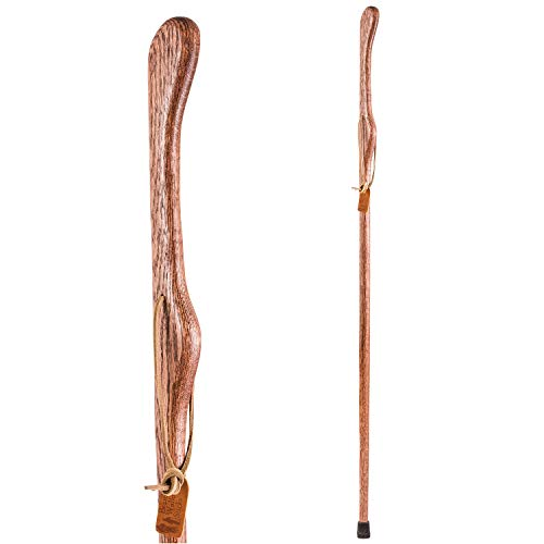Trekking Pole Hiking Stick for Men and Women Handcrafted of Lightweight Wood and made in the USA, Red Oak,  55 Inches