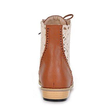 Cómodo y elegante soporte de zapatos de las mujeres pisos primavera verano otoño invierno otros cuero sintético oficina y carrera vestido casual soporte de talón cordones negro marrón amarillo amarillo