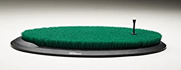 Fiberbuilt Flight Deck Golf Hitting Mat – Oval Shape Outdoor Indoor Real Grass-Like Performance Golf Mat with Durable Adjustable Height Tee, Black Green, 21.25 x 13.5 x 1.75