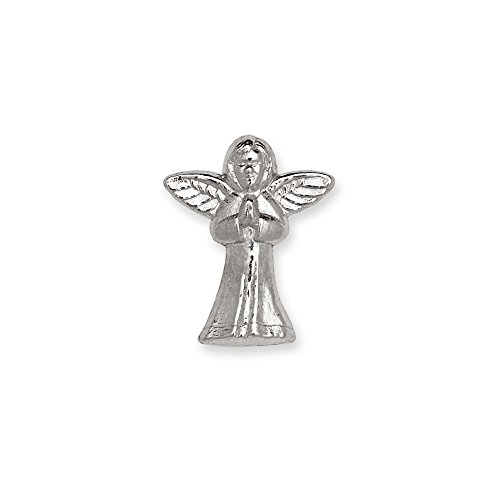 14k Yellow or White Gold Praying Angel Lapel Pin For Men (white-gold)