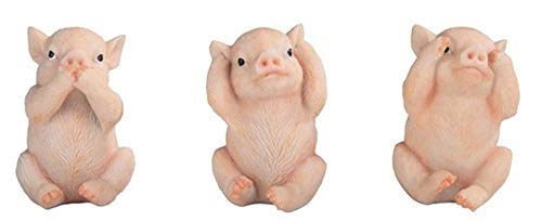 Gifts by Lulee, LLC Happy New Year of The Pig Set of Three Speak No Evil Hear No Evil See No -
