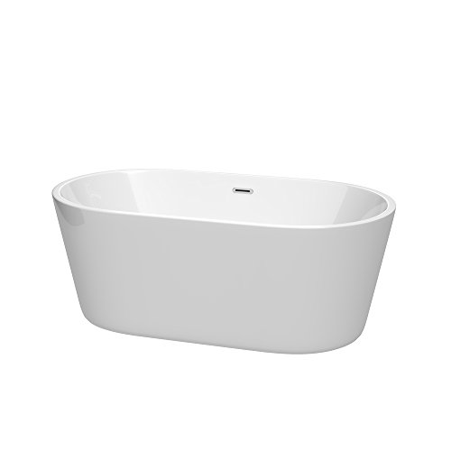 Wyndham Collection WCOBT101260 Carissa Freestanding Bathtub with Drain and Overflow Trim, 60