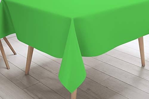 Lime Tablecloths - Lily + Oliver Plastic Table Cloths for Parties - (6 Pack) Disposable Lime Green Plastic Tablecloth - Rectangle Indoor/Outdoor Tablecloth - Plastic Table Covers 54
