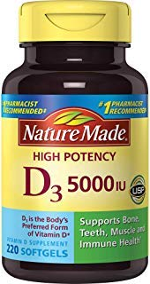 Nature Made Vitamin D3 5000 IU Ultra Strength Softgels, 220 Count (Natures Made Vitamin D)