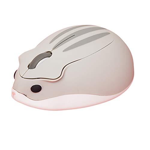 jinjijn PC Laptop mouse Hamster Portable Mini Mouse 2.4Ghz Wireless 1200 DIY Cute Hamster Creative Design Mice (gray) ()
