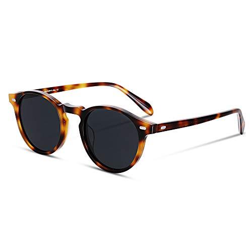 EyeGlow Vintage Round Sunglasses Women Sunglasses Men Polarized Lens 5187 Acetate material (Tortoise vs grey polarized lens, As ()