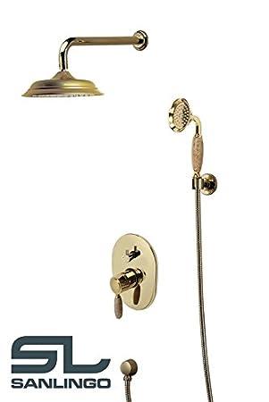 nostalgie retro unterputz dusche set duschset armatur kopfbrause handbrause gold marmor sanlingo - Unterputz Armatur Dusche Wechseln