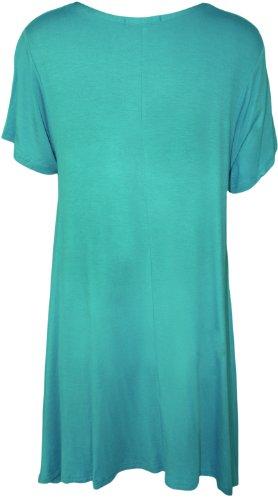 croix WearAll ourlet irrgulier avec Tunique 40 Turquoise Femmes clout du et Grandes 58 Hauts manches courtes dessin tailles HrRzxSH