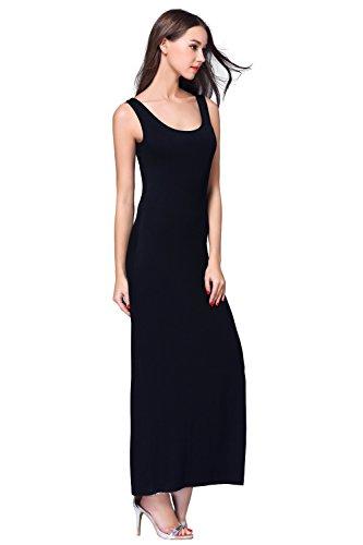 Maxi Black Top HIKA Sleeveless Women's Casual Long Tank Dress FHAqTYAw