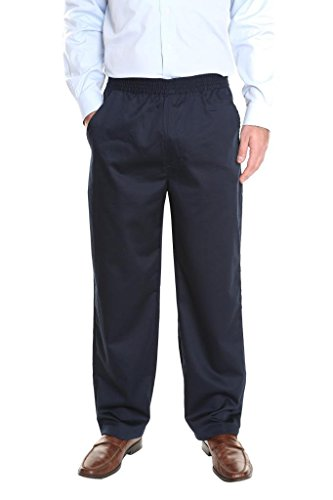 Pembrook Men's Full Elastic Waist Twill Casual Pant - M - Navy