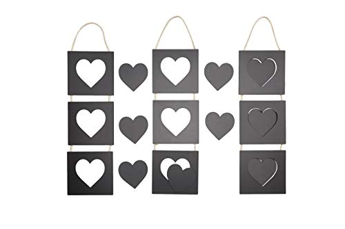 Juvale Hanging Chalkboard Sign - 3- Set Hollow Heart Shaped Chalk Board Signs with 9 Extra Hearts, Blackboard Message Board Plaque, for Stores, Home Decor, Wedding, 4.6 x 18.2 x 0.2 inches