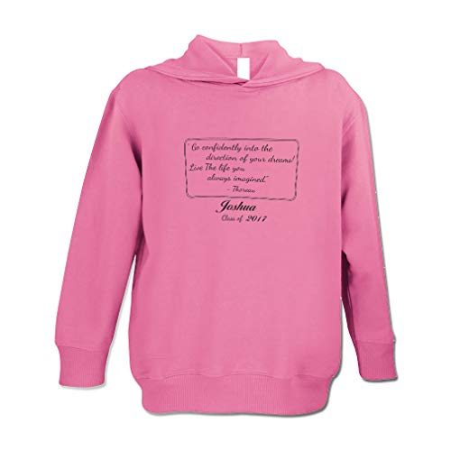 Personalized Custom Graduation Go Confidently Your Dreams Long Sleeve Hooded Neck Boys-Girls Toddler Fleece Pullover Hoodie - Hot Pink, 5/6T