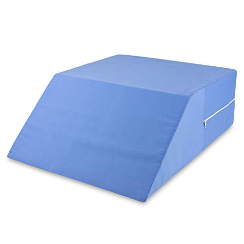 DMI Ortho Bed Wedge Elevated Leg Pillow, Supportive Foam Wedge Pillow for Elevating Legs, Improved Circulation, Reducing Back Pain and More, Blue (Best Sleeping Position For A Sore Back)