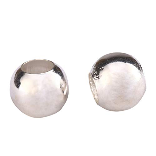 30pcs Sterling Silver 6mm Seamless Smooth Spacer Beads (Large Hole ~ 2.8mm) for Jewelry Craft Making Findings - Bead 6mm Silver Sterling