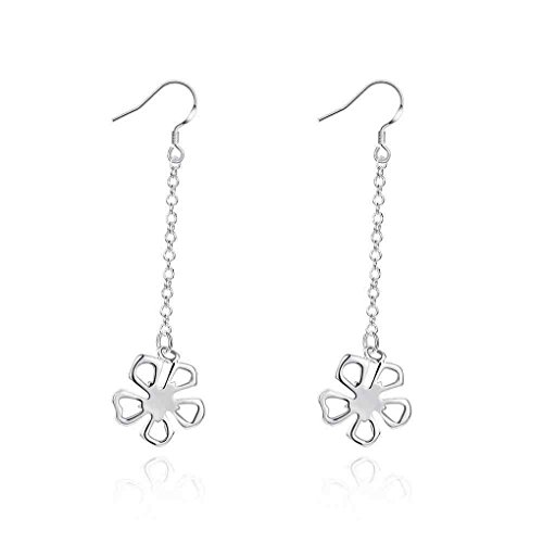 fonk: New silver plated earing Fashion Flower drop ear cuff horloge