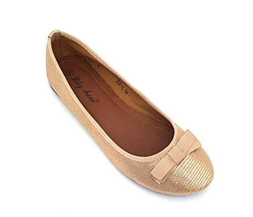 R11 CRAZY SHU Flat Fashion Ballerina Ladies Pumps On Gold Ballet Detail Slip Shoes Womens Bow Dressy 6drqBdAU
