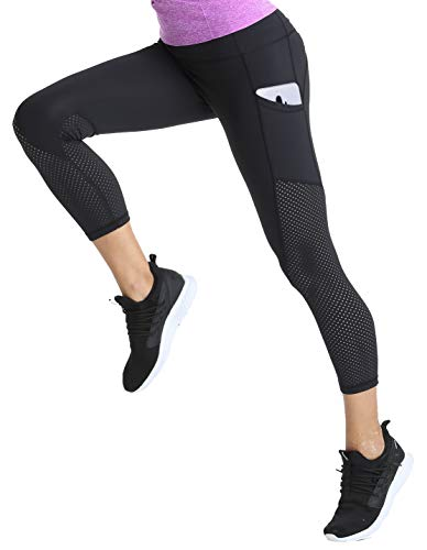 6 Fatigue Pocket Pant - slimour Women Workout Leggings Capri Length High Waist Compression Activewear Capri Pants Black 6