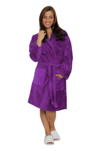 Terry Velour Shawl Collar Robe - Bathrobes for men and Mens Robe Velour Terry Shawl Collar Womens Bathrobe, L XL, PURPLE