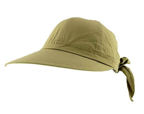 JFH Women's Classic Quintessential Sun Wide Brim Visor Hat (Khaki, One Size) (E4hats Cotton Flap Hat)