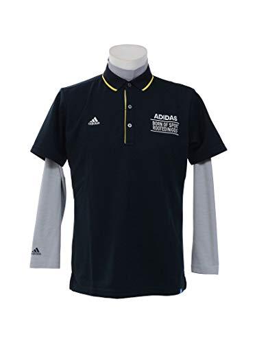 アディダス Adidas 半袖シャツ?ポロシャツ adicross 3ストライプ レイヤード半袖ポロシャツ ネイビー O