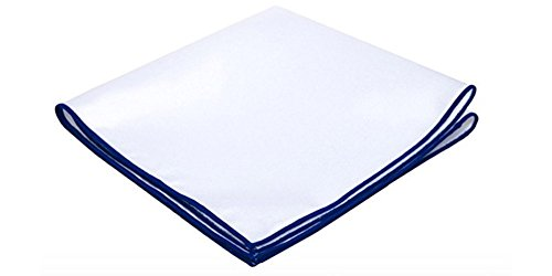 Embroidered Pocket (White Linen Pocket Square with Royal Blue Embroidered Edge by D&L Menswear)