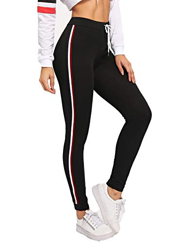 78792cb8fc6376 Romwe Women's Workout Yoga Leggings High Waist Drawstring Striped Stretch  Leggings Pants