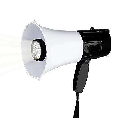 MyMealivos Portable Compact PA Megaphone Speaker w/Alarm Siren, Adjustable Volume, 40 W Handheld Lightweight Bullhorn