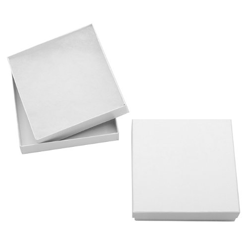 White Cardboard Square Jewelry Boxes With Swirls 3.5 x 3.5 x 1 Inches (16)