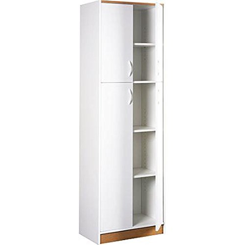 Kitchen Pantry Storage Cabinet White 4 Door Wood Organizer 5 Shelves Furniture by Magic Tech