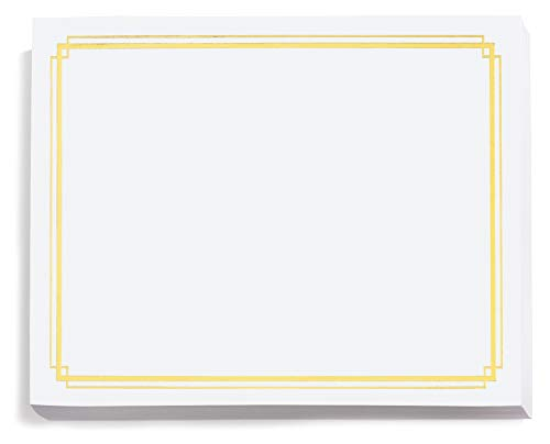- White Specialty Certificates, Gold Foil Border, 8.5 x 11, 50 Count