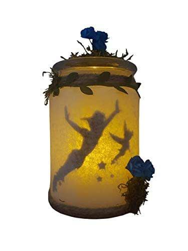 Peter Pan y Campanilla capturados en tarro de luz,lampara LED quitamiedos habitación de bebe,luz tenue.