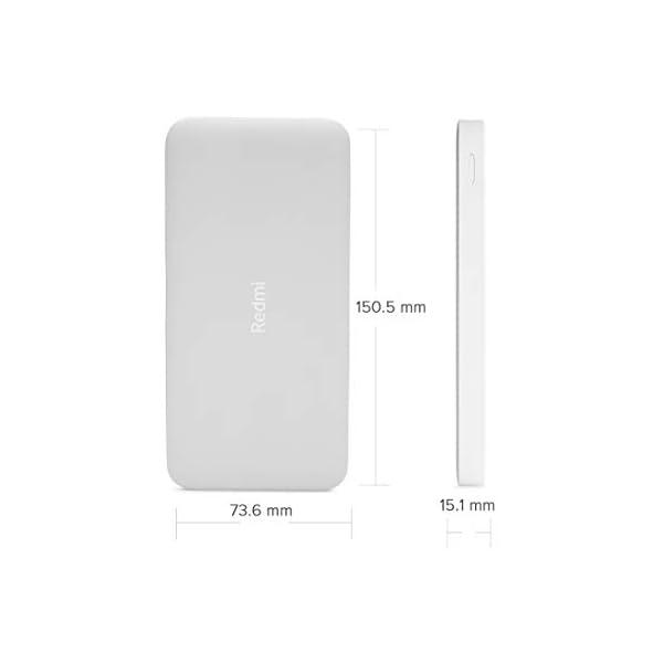 Redmi 10000mAh Li-Polymer Power Bank (White), USB Type C and Micro USB Ports | Fast Charging