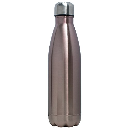 BonBon 17oz (500ml) Stainless Steel Double Wall Insulated Vacuum Sealed Travel Water Bottle - 12 Styles! (Light Brown Sparkle)