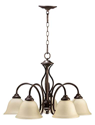 Five Light Oiled Bronze Amber Scavo Glass Down Chandelier