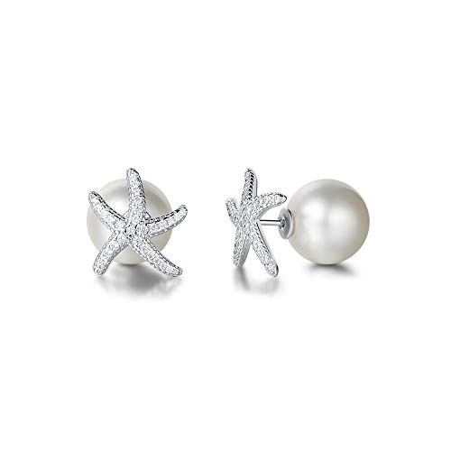 FANCIME White Gold Plated Cubic Zirconia CZ Faux/Fake 12mm Pearl Starfish Stud Earrings Fashion Jewelry with Gift Box for Women - Faux Zirconia Cubic Pearl