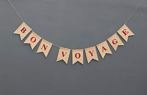 Bon Voyage Burlap Banner Nautical Going Away Party Decor Nautical Bon Voyage Sign Travel Party Going Away Party Theme Rustic Burlap Decor]()