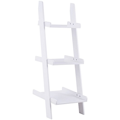 Giantex Ladder Shelf 3-Tier Wall-Leaning Bookshelf Ladder Bookcase Storage Display Shelf for Home and Office, Multipurpose Plant Flower Stand Shelf, White