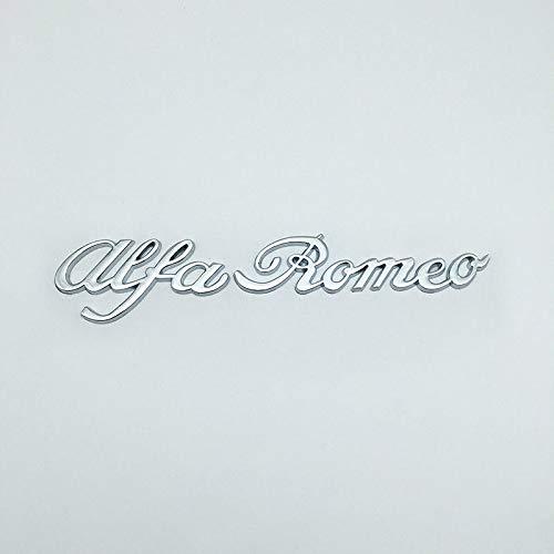 1 PCS Silver Chrome Metal Alfa Romeo Letter Logo Emblem Auto Badge Sticker Car Decal