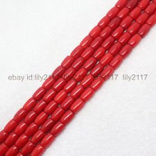 Red Coral Tube (Beautiful 7x10mm Red Coral Barrel beads Tube Loose Beads 15